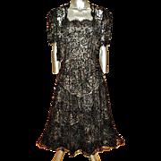 Vintage Carolina Herrera Lace Gown Bolero Velour Sequins Inserts Ruffled panels