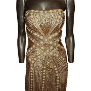 Vintage 1980s Chloe' Couture Strapless Dress Heavily beaded Embellished(See by Chloe')