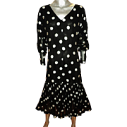 Caftan Dress With Pleats Chiffon with Silver Embroidered Dots