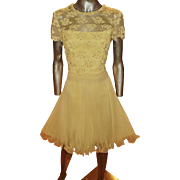 Vtg Jack Bryan 1960 Beaded Lace Pencil Pleats Chiffon Fluid Dress Sash Hong Kong