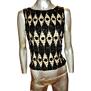 Vtg 1950 Heavily Embellished Beaded Sequined wool Illusion Top Hong Kong /34