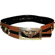 Vtg Escada Leather Western Theme Belt Golden Buckle Gold Bull atop Buckle Hardware West Germany Rare
