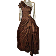 Vintage Jovani Cocoa Couture Gown 100% Silk One Shoulder Bow Special Beads Details