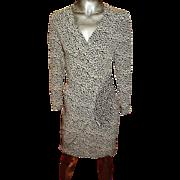 Vintage Guy Laroche Boutique Crepe Semi Wrap petit Fleur Dress Draped Side Slit Paris France