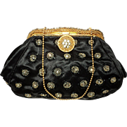 Vintage 1930 French Silk Beaded Evening Bag Brass Golden Metal Frame Filigree Crystals