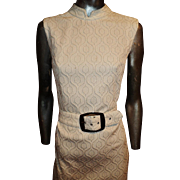 Vintage 1960 Maxi Cheongsum Dress Silver Lame' Embroidered on Fabric Silver Buckle wide Belt