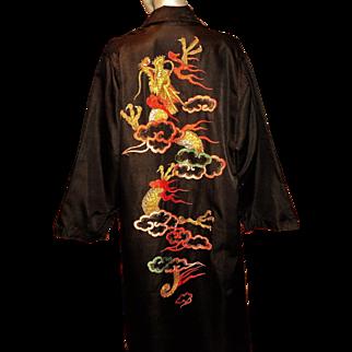 Vintage 1940 Chinese Kimono Gold Hand Embroidered Raw Silk Maxi w/sash