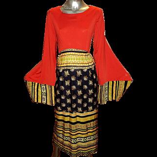 Vintage Boho 1960 Maxi Fluid Dress Bat Sleeves Color Block Jersey Satin