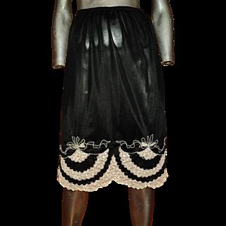 Vintage 1950 Black Slip Embroidered Lace