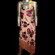Vintage Betsey Johnson Burnt Floral Velvet Asymmetric Fringe Silk Chiffon Dress