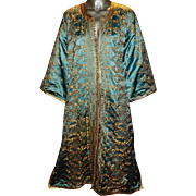 Vintage Gold Embroidered Aqua Caftan Silk/Satin Actual Gold Thread 1940 Middle East