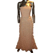 Vintage Badgley Mischka Collection Chiffon Ballet Pink Petal Strapless Gown