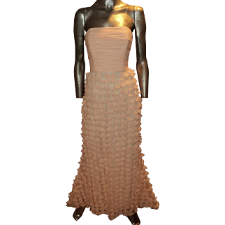 Vintage Badgley Mischka Collection Chiffon Ballet Pink Petal Strapless Gown