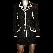 Vertigo Paris Dress Suit Black Silver Trim Boucle' Lurex  Signature V Buttons