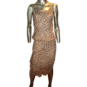 Diane Von Furstenberg Silk Leopard Print Asymmetric Dress Side Ruffle