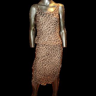 Diane Von Furstenberg Silk Leopard Print Asymmetric Dress Side Ruffle