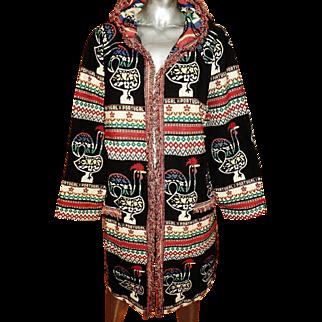 Vintage Ethnic Caftan Woven Tapestry Coat Hood & Fringe Portugal