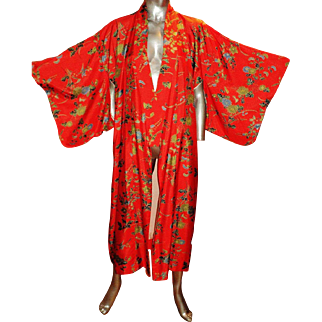Vintage Japanese Silk Kimono Actual Gold Painted On Silk Screen To Die For