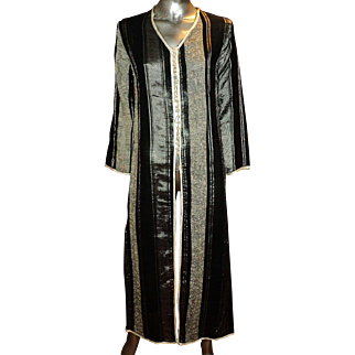 Vintage Moroccan Ethnic Striped Caftan Black Silver hand made Buttons Braided Ribbons
