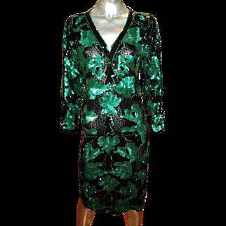 Oleg Cassini Vintage Silk Heavilly Embroidered Sequins Qipao Dress Side Slits