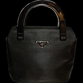 Vintage Prada Bag Bakelite Handles Tessutto Leather Iconic & Signature