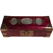 Beautiful Chinese Jewelry Music Box Rosewood Jade Inlay Bronze Fixtures.