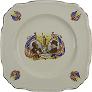 "Alfred Meakin, England,  Roosevelt and Churchill ""Champions of Democracy"" - Astoria Shaped Plate"