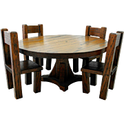 Folk Art Hand Made Arts & Crafts Oak Doll Dining Table & Chairs - Provenance