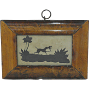 Early 19th Century Folk Art Silhouette Landscape of a Dog Hunting