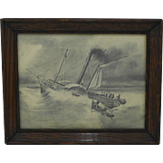 Folk Art Graphite Pencil Maritime Ship Drawing