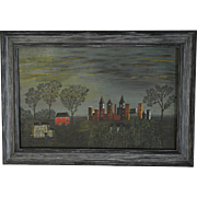 19th Century Oil on Board Naive Folk Art Painting of a Small Town