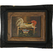 Vintage Folk Art Oil On Wood Rooster C.D. Boss & Son Painting