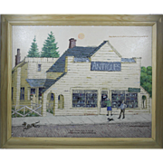 William Werrbach Acrylic Painting of an Antiques Shop, Northwest Listed Artist