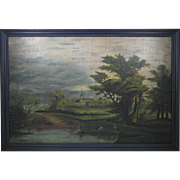 19th Century Folk Art Naive Landscape Painting