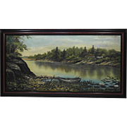 19th Century New England Folk Art Painting of a River Scene