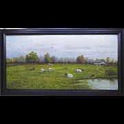 New England Folk Art Naive Landscape Painting