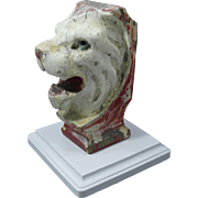 Folk Art Hand Carved & Painted Wood Lion Head Carnival Carousel Fragment