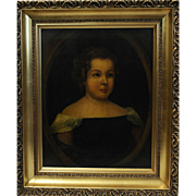 19th Century Oil on Canvas Portrait of a Young Girl
