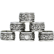 Birmingham Art Nouveau Set of 6 Sterling Silver Napkin Rings
