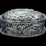 Birmingham Art Nouveau Sterling Silver Snuff Pill Box