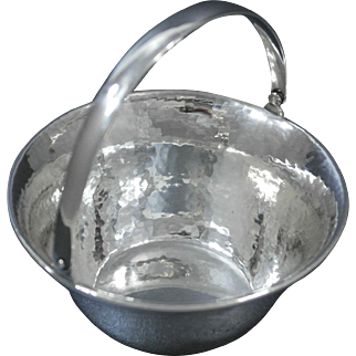 Merrill Shops Sterling Silver Hand Hammered Bowl with Handle, Arts & Crafts