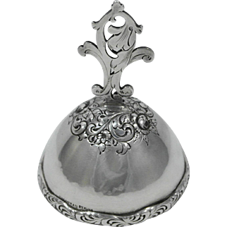 Shreve Sterling Silver Tea Dinner Bell, Hand Hammered & Repousse Detail