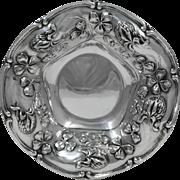 Adelphi Sterling Silver Bowl, Art Nouveau Floral Motifs, Circa 1900