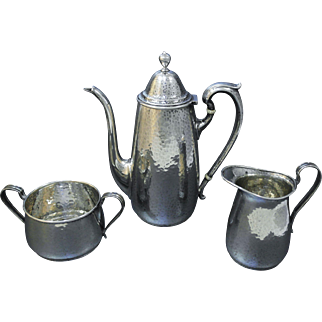 International Arts & Crafts Sterling Silver Tea Coffee Set, Hand Hammered