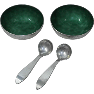 Panis Sterling Silver Hand Hammered Enamel Salt Cellars with Spoons, Boston Society of Arts & Crafts