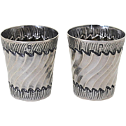 Sterling Silver Pair of Cordial Shot Cups - French .950 - Victor Boivin