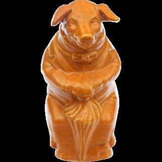 Brownish-Orange Pig Majolica Bank