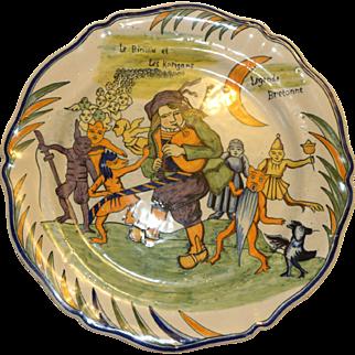 Porquier Beau Legende Bretonne Quimper Plate