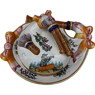 Vintage Quimper Bagpipe Cheese Dish