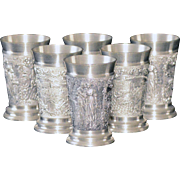 Set of Six Rare Vintage Rein-Zinn Detailed Pewter Cordial Shot Glasses with Exceptional Detail